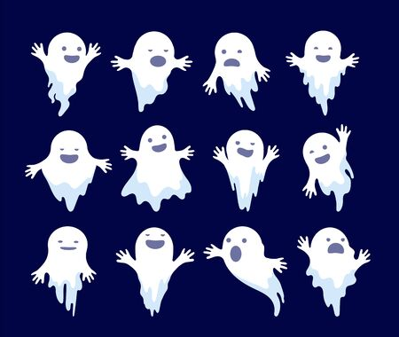 Ghost. Halloween spooky phantom, scary spirits. Mystery dead monsters cartoon vector ghostly characters. Illustration ghost holiday, white ghostly mystery illustration Stock Illustratie