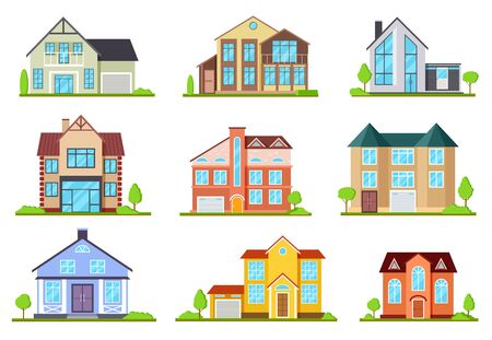 Suburban houses. Family house, village cottage. Outdoor architectural elements, modern buildings exterior. Flat vector set of house cottage, suburban residential illustration