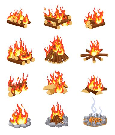 Cartoon bonfire. Summer campfires flame with firewood. Burning stacked wood. Flat gaming camping design isolated vector set. Firewood and bonfire, burn flame, campfire illustration Çizim
