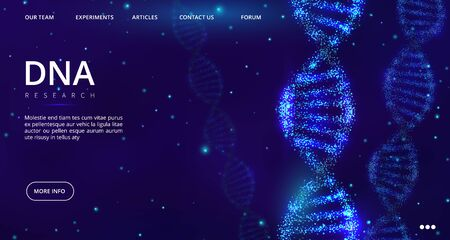 DNA landing page. Vector genetics engineering web page template. Medical banner design with DNA spiral. Illustration medical research dna, genetic engineering
