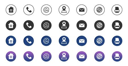 Contact icons. Information business communication symbols collection. Call internet location, address, mail and fax icons. Phone icons, internet address, email contact illustration