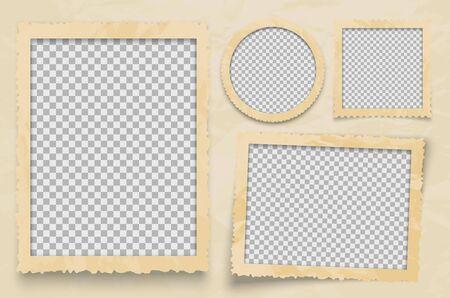 Marco de fotos de época. Plantilla de marcos de vector con fondo transparente. Marco vacío de diseño de foto para ilustración de fotografía de álbum