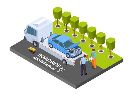 Tow truck isometric. Vector roadside assistance concept. Illustration evacuation truck, vehicle transportation help