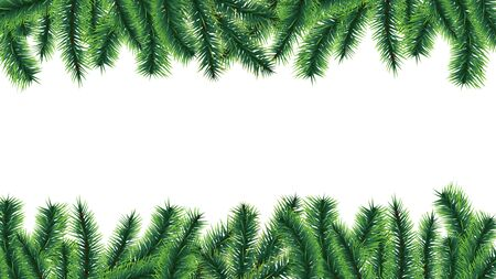 Christmas tree border. Holiday banner, vector fir tree branches isolated on white background. Illustration branch evergreen frame, pine-tree xmas twig