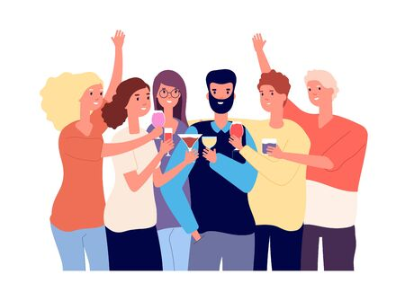 Drinking friends. Group of funny guys clink glasses with alcohol drinks and make toast. Christmas celebration vector flat concept. Illustration happy friend cheers drink alcohol Ilustracja