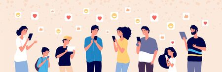 People chatting online. Adult and kids with gadgets in social media always adding followers. Internet addiction vector concept. Illustration online woman, man and kids with device Ilustracje wektorowe