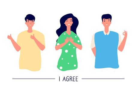 People with positive gestures. Smiling men and woman with positive emotion show okay and like gesture. Consent and approval vector set. Thumb finger successful gesture, agree mute illustration