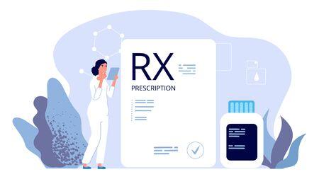 RX prescription. Pharmacist illustration, painkiller medication prescription. Vector pharmeceutical industry, therapy drugs. Illustration prescription rx, pharmaceutical medicine, medical care