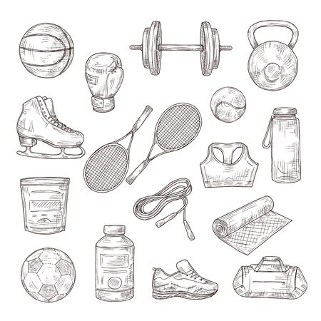 Sketch sports equipment. Ball, dumbbell and tennis rackets, boxing glove and jump rope, sports nutrition. Doodle fitness vector set. Illustration football and tennis, equipment sketch for sport