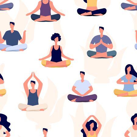 Yoga pattern. Meditation people vector seamless texture. Flat men and women yoga workout. Illustration fitness yoga pattern, people do exercise