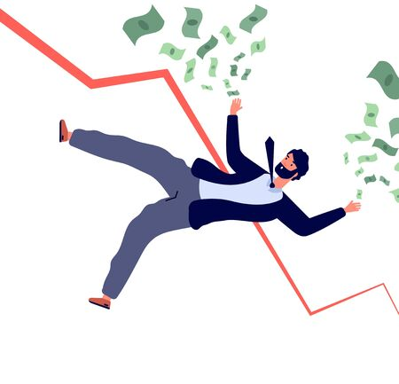 Financial crisis concept. Businessman falling down with financial chart and losing money. Bankruptcy and recession vector. Illustration businessman crisis, financial problem, shareholder going to down