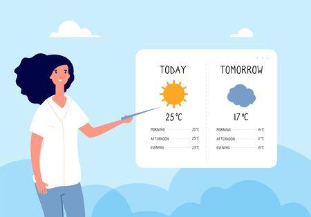 Concept de prévision météorologique. Femme prévoyant la météo dans les actualités télévisées. Plate illustration vectorielle. Prévision météo, météorologie et climat