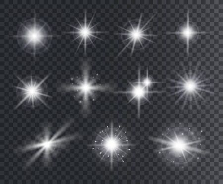 Light effect. White star sparks, bright flare with rays. Magic glowing dust particles. Christmas abstract elements isolated vector set. Illustration magic flare, sparkle vibrant christmas star Векторная Иллюстрация