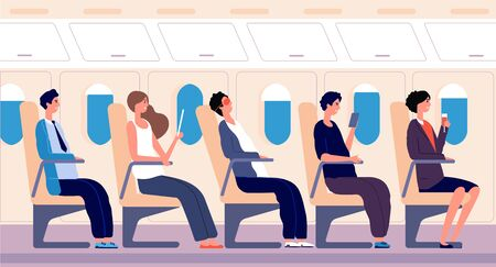Airline passengers. People traveling with tablet and smartphone inside airplane board. Air transportation tourism vector concept. People traveler passenger, tourist on plane sleep, read illustration