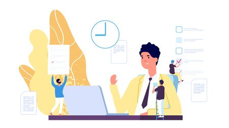 Working process. Business environment vector concept. Flat businessman or manager and tiny people characters. Business work management, illustration of man office work process