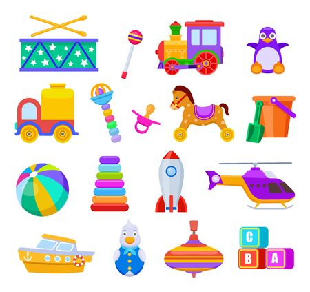 Kid toys. Drum and train, penguin and truck, ball and ship, helicopter and rattle, pacifier and cubes, rocket. Children toy vector set. Illustration kids toys, rocket, truck, ship and drum 向量圖像