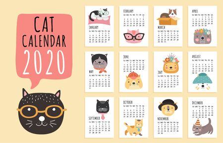 Cat calendar. 2020 monthly planner with cute cartoon cats. Funny kittens design vector calendar template. Illustration monthly organizer and year calendar Ilustrace
