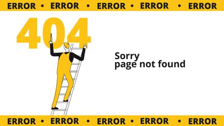 Error 404 page. Computer failure, oops concept. Website vector template with flat line male character. Illustration warning failure, 404 page, internet website message