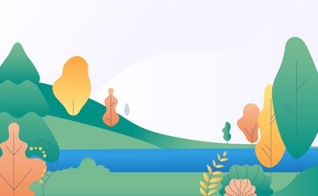 Flat minimal landscape. Autumn nature scene with yellow, green trees and river. Fall panorama with lake. Trendy vector background. Illustration autumn landscape scene, scenery stylized