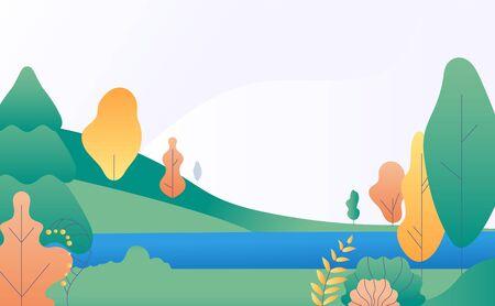 Paesaggio piatto minimale. Scena della natura autunnale con alberi gialli, verdi e fiume. Panorama autunnale con lago. Sfondo vettoriale alla moda. Illustrazione scena di paesaggio autunnale, scenario stilizzato