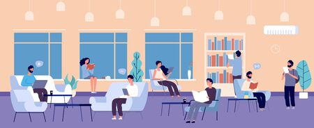 Co-working space. People working laptops, reading books vector illustration. Open space concept. Workplace coworking, workspace freelancer office
