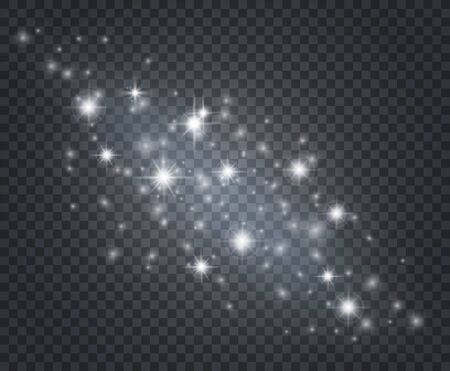 Light effect. Glowing star dust, sun flashes with rays. Isolated starburst with sparkles. Christmas decoration vector background. Flare light sparkle, white effect glow illustration