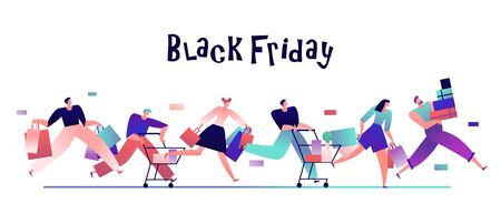 People on black friday. Happy shoppers with bags run for shopping, discount sales promotion and shopaholic vector concept. Shopper run to do purchase, discount shopping illustration