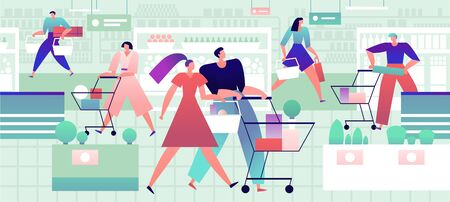 People in grocery store. Men and women with shopping carts and bags buy food products in supermarket. Retail vector concept. Supermarket and grocery retail, man and woman with cart illustration