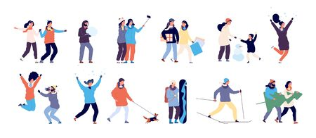 People in winter. Men and women skiing, skating and child making snowman, guy walking dog. Winter activities vector characters set. Illustration winter boy and girl rest christmas season