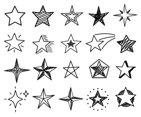 Sketch stars. Cute star shapes, black starburst doodle signs for christmas decoration isolated vector set. Star black drawn ink, illustration burst asterisk freehand