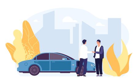 Rent car. Carsharing, rental car agency illustration. Flat male characters, vector auto, city landscape. Transport auto rent, service dealership transportation