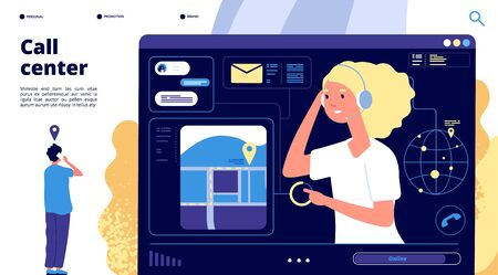 Call center. Customers chat with support operator, counselor helping client. Telemarketing digital online business vector landing page. Operator communication consulting, coordinator illustration