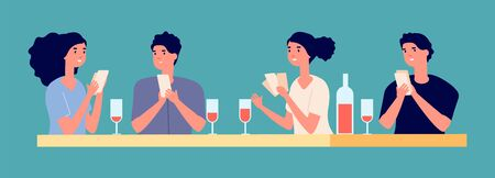 Board games concept. Poker tournament with friends vector illustration. Young girls and boys playing cards and drinking wine. Board game entertainment, play card and leisure Ilustração