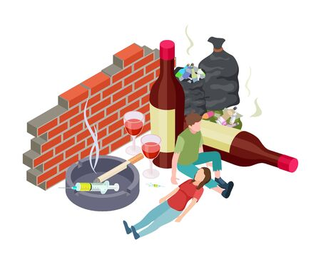 Malos hábitos. Concepto de adicciones isométricas. Vector de personas con adicción. Alcohol, drogas, nicotina. Personas sin hogar con malos hábitos. Fumar tóxico, narcótico para la salud y beber ilustración nociva. Ilustración de vector