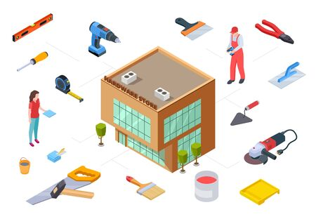 Hardware store concept. Construction supplies isometric collection. Vector 3D store building supplies tools for construction repair design. Illustration equipment tool to repair