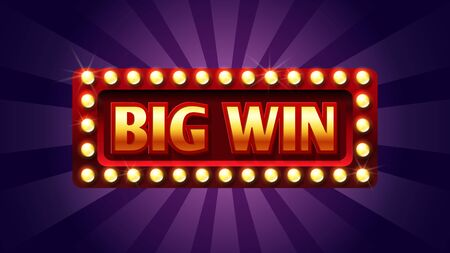 Big win banner. Winner frame, jackpot background. Red and gold congratulation frame with lights. Illustration casino jackpot, winner and prize billboard game