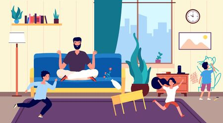 Calm dad and kids. Father meditates among running naughty, mischievous children creating chaos in room. Calming person vector concept. Meditation father, kid drawing on wall illustration Ilustrace