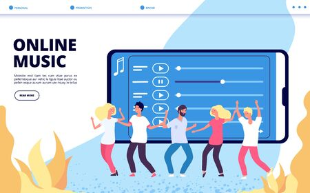 Online music landing page. Vector mobile entertainment illustration. Happy dancing people and playlist web page. Music online, sound and audio broadcast 일러스트