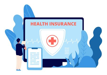 Health insurance. Healthcare business vector concept. Man takes out health insurance online. Illustration healthcare insurance, business health protection Illustration