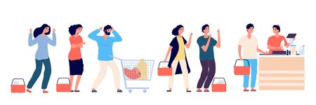 Angry people queue. Dissatisfied and tired customers standing in supermarket line, scream and swear by purchasing. Vector concept. Illustration people queue angry, customer hysteria