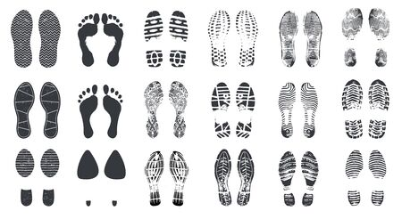 Footprint silhouettes. Barefoot, sneaker and shoes steps with dirt texture. Walking boot footprints, foot imprints vector isolated set. Footwear footprint, inprint track and shoe illustration Vetores