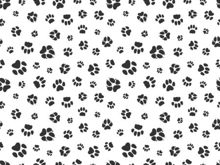 Pet paw pattern. Animal background with god cat paws. Pet steps seamless texture. Seamless footstep pattern, pet paw, animal dog and cat illustration Standard-Bild - 133431625