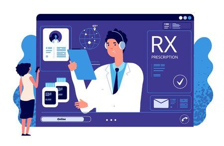 RX prescription online. Medical app, online prescription. Vector doctor, patient, painkiller medication. Rx prescription online, doctor medical internet online illustration