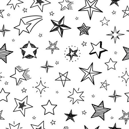 Sketch stars seamless pattern. Hand drawn grunge starry sky. Doodle textile print vector geometric texture. Texture sketchy scribble stars pattern illustration