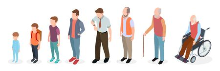 Generazioni di uomini. Adulto isometrico, personaggi maschili vettoriali, bambini, ragazzo, vecchio, evoluzione dell'età umana. Illustrazione di una generazione in crescita, da bambino a pensionato