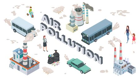 Air pollution concept. Chemical pollutants vehicle polluted air. Isometric people and plants vector illustration. Pollution problem, garbage and harm