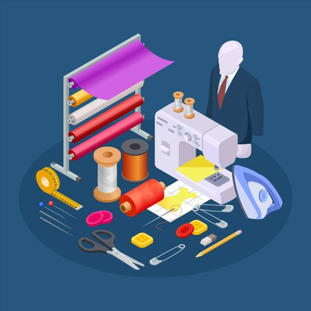 Textile industry composition. Isometric sewing vector. Sewing workshop collection. Illustration sewing and tailoring, workshop machine and equipment for handmade