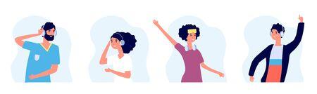 Music lovers. People listen music flat characters. Women and men with wireless headphones vector avatars. Illustration listen to music use headphones