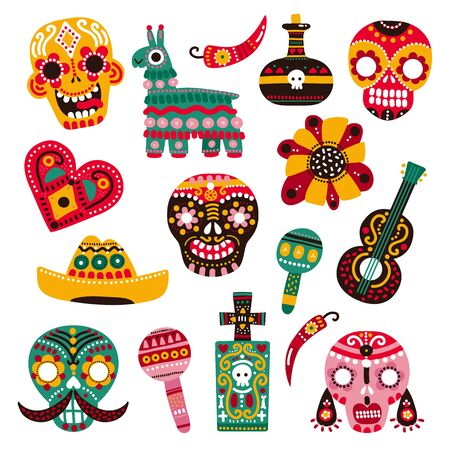 Day of dead. Decorative skulls, guitar and sombrero, llama and hot pepper, heart and grave. Mexican dia de los muertos vector set. Illustration mexican skull, mexico festival holiday