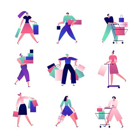 Shopping people. Man and woman with shopping bags and carts make lots of purchases in store. Buyers isolated cartoon vector characters. Illustration people and customer in retail, shopper do shopping